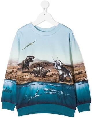 Molo Dino World-print organic cotton sweatshirt