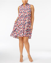 Anne Klein Plus Size Printed Trapeze Shirtdress