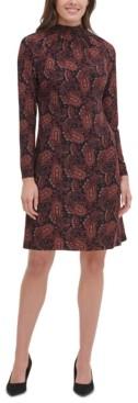 Tommy Hilfiger Petite Vilette Paisley-Print Mock-Neck Dress