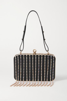Area Crystal-embellished Leather Shoulder Bag - Black