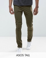 Asos Tall Skinny Chinos In Khaki