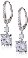 Crislu Platinum Plated Sterling Silver Cubic Zirconia Drop of Light Lever Back Earrings