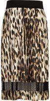 River Island Girls leopard print pleated midi skirt