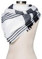 Merona Women's Blanket Scarf White/Black Plaid