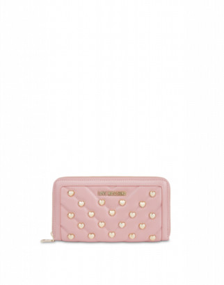 Love Moschino Wallet With Heart Studs Woman Pink Size U It - (one Size Us)