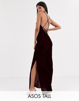 Asos Tall ASOS DESIGN Tall cami maxi slip dress in velvet with lace up back