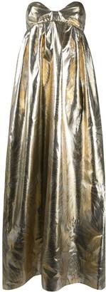 Sara Battaglia Palm Leaf-Jacquard Strapless Lurex Gown