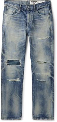 Neighborhood Claw Mod Savage Slim-Fit Distressed Embroidered Denim Jeans