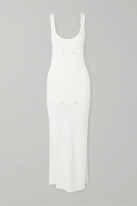 CHRISTOPHER ESBER Button-detailed Ribbed-knit Dress - White