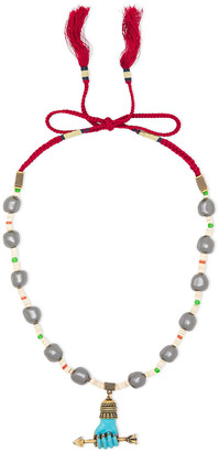 Gucci Burnished Gold-tone, Stone, Enamel And Cord Necklace