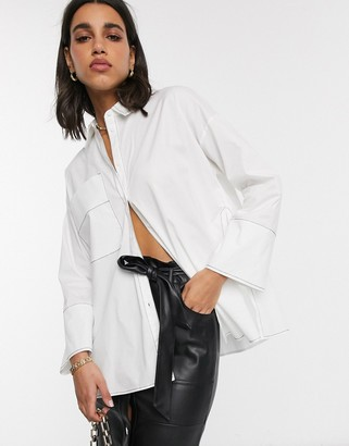 ASOS DESIGN long sleeve oversized shirt with side split detail and stitch detail in white