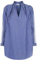 Sandro Striped Blouse with Lace Insert