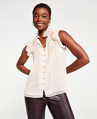 Ann Taylor Ruffle Tie Neck Shell Top