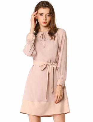 Allegra K Women's Tie Neck Keyhole Colorblock Belted Long Sleeve Straight Dress L Pink