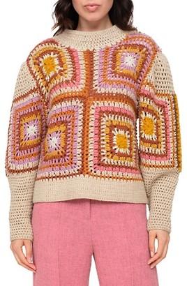 Sea Farrah Wool Crochet Cropped Knit Sweater
