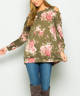 Sweet Pea Olive Floral Cold-Shoulder Tunic