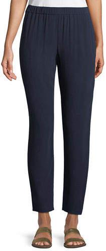 Eileen Fisher Petite Silk Georgette Crepe Slouchy Ankle Pants