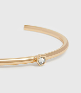 AllSaints Clarity Gold Tone Semi-Precious Crystal Quartz Cuff Bracelet