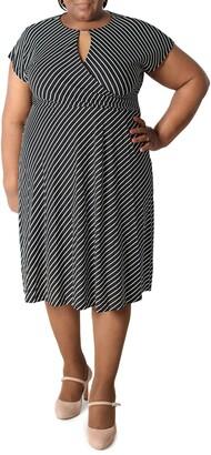 Sandra Darren Striped Keyhole Short Sleeve Midi Dress