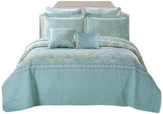 Serenta Mystic Quilted 7 Piece Bed Spread Set, Teal / Turquoise, Over-Sized Ki