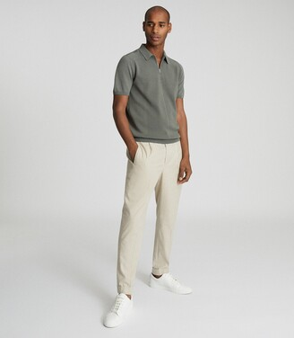 Reiss Mellor - Textured Zip Neck Polo Shirt in Sage