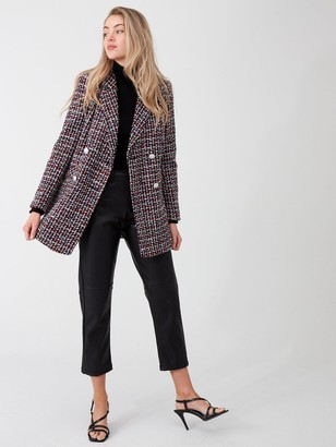River Island Boucle Double Breasted Longline Blazer-red