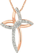 FINE JEWELRY 1/4 CT. T.W. Diamond 10K Rose Gold Cross Pendant Necklace