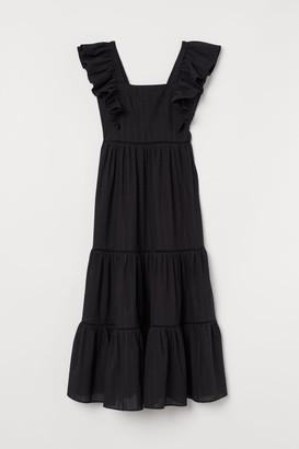 H&M Long Dress with Lace Details - Black