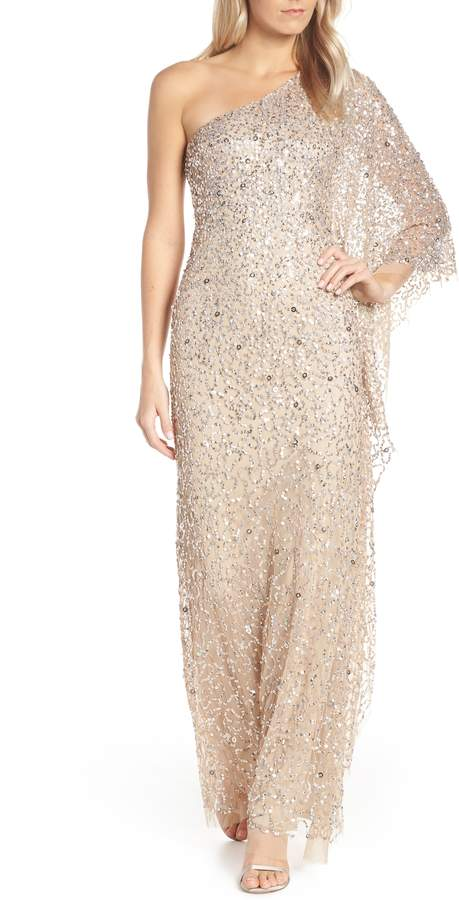 Adrianna Papell One-Shoulder Beaded Evening Dress
