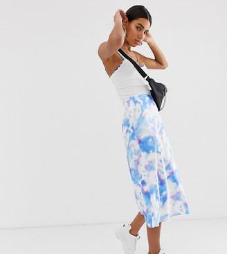 Reclaimed Vintage inspired satin skirt in tie dye print