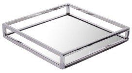Classic Touch Large Square Mirrored Tray with Chrome Rails