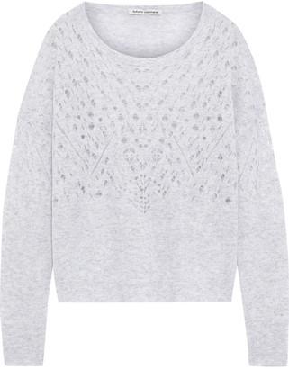 Autumn Cashmere Melange Pointelle-knit Cashmere And Silk-blend Sweater