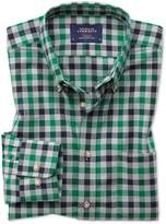 Charles Tyrwhitt Classic Fit Button-Down Non-Iron Twill Green and Navy Gingham Cotton Casual Shirt Single Cuff Size Large