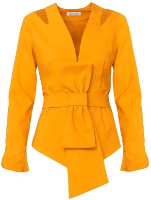 Dalb Zori Belted Mustard Blazer With Shoulder Coutouts