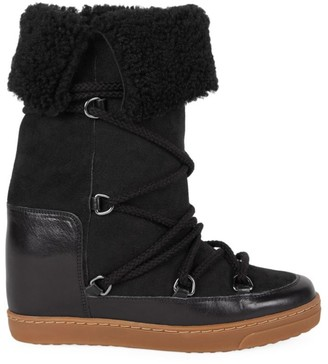 Isabel Marant Nowly Shearling-Lined Suede & Leather Snow Boots