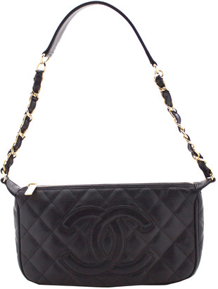 Chanel Black Quilted Caviar Skin Leather Chain Shoulder Bag
