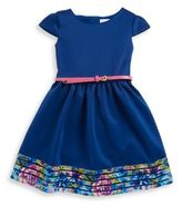 Us Angels Little Girl's Floral Accented Scuba Dress