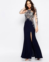 Forever Unique Sapphire Maxi Dress with Embellished Mesh Sleeves