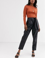 Asos Design DESIGN leather look pants with twist waist detail