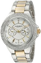Akribos XXIV Women's AK789TTG Multifunction Swiss Quartz Movement Watch with Silver Dial and Two Tone Bracelet