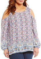 Bobeau Plus Woven Cold Shoulder Border Print Top