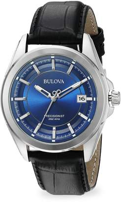 Bulova Stainless Steel and Leather Watch, 96B257