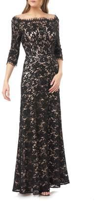 JS Collections Bateau Neck Lace Gown