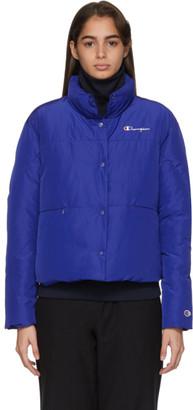 Champion Reverse Weave Blue Back Script Logo Puffer Jacket