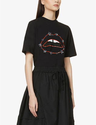 Markus Lupfer Nicola lip and star-embroidered cotton-jersey T-shirt