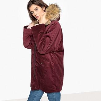 La Redoute Collections Corduroy Faux Fur Hood Parka