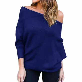 NPRADLA Women Solid Casual Off Shoulder Knitted Top Pullover Loose Batwing Long Sleeve Sweater Jumper White