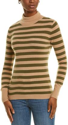 Kier & J Stripe Turtleneck Cashmere Sweater