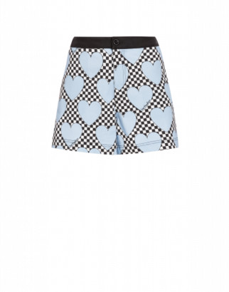 Love Moschino Hearts Stretch Gabardine Shorts Woman Blue Size 42 It - (8 Us)