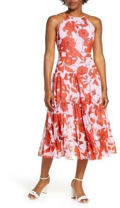 Eliza J Floral High Neck Tiered Chiffon Midi Dress